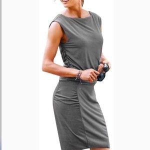 Athleta Westwood Black & White stripe dress. NWT